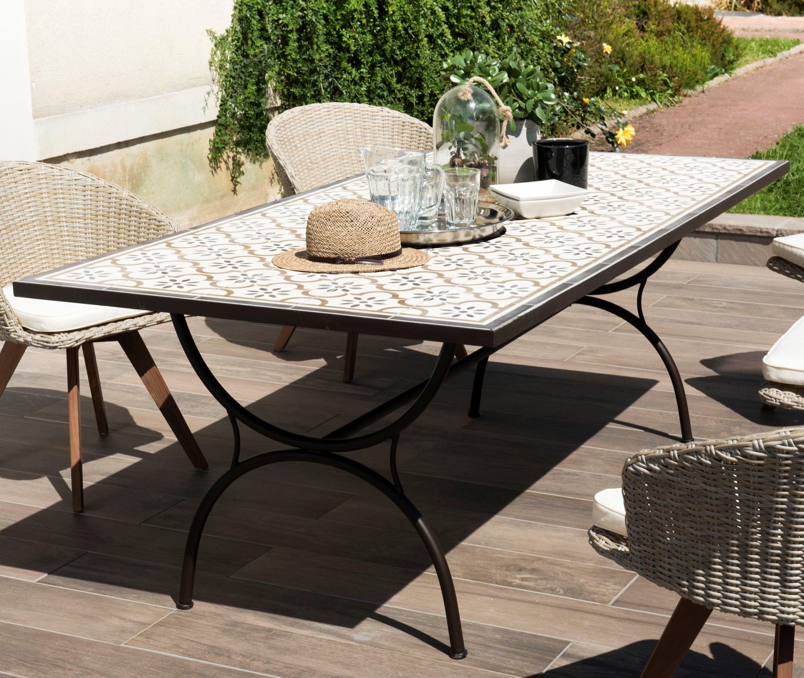Table De Jardin 8 Personnes Carreaux De Ciment 200X100 Summer à Table De Jardin En Ciment