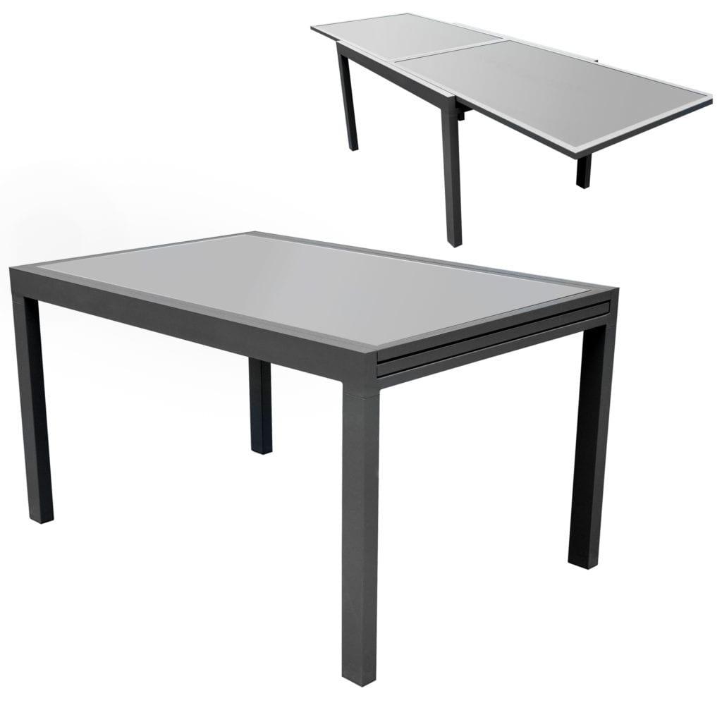 Table De Jardin À Rallonges Alu Et Verre tout Table De Jardin Aluminium Et Verre