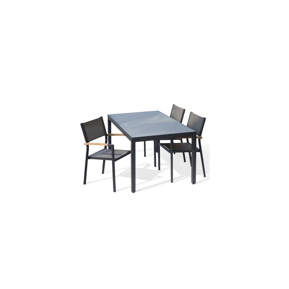 Table De Jardin Aluminium 220 Cm Anthracite Plateau Verre Mat concernant Table De Jardin Aluminium Et Verre