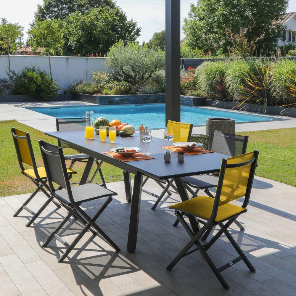 Table De Jardin Aluminium Et Plateau Verre Avec Rallonge 150/250 Cm encequiconcerne Table De Jardin Aluminium Et Verre