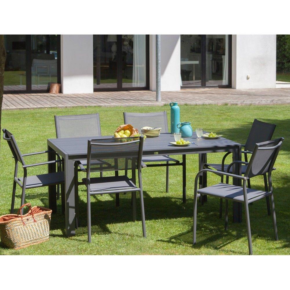 Table De Jardin Aluminium L160 L90 Cm Gris concernant Table De Jardin En Alu