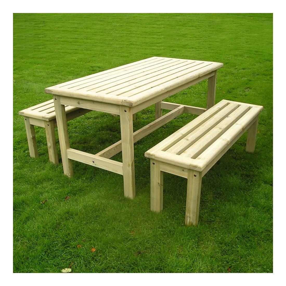 Table De Jardin Avec Bancs L:150Cm avec Table De Jardin En Bois Avec Banc Integre