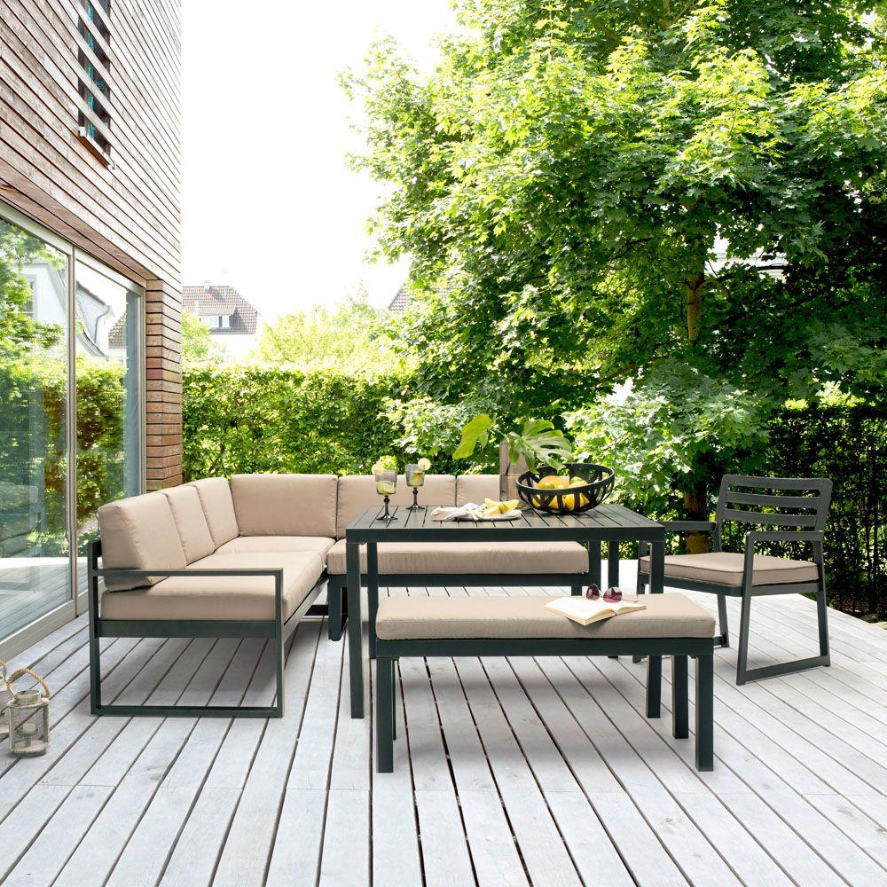 Table De Jardin Barcelona Aluminium Gris Pas Cher - Soldes ... dedans Salon De Jardin D Angle Pas Cher
