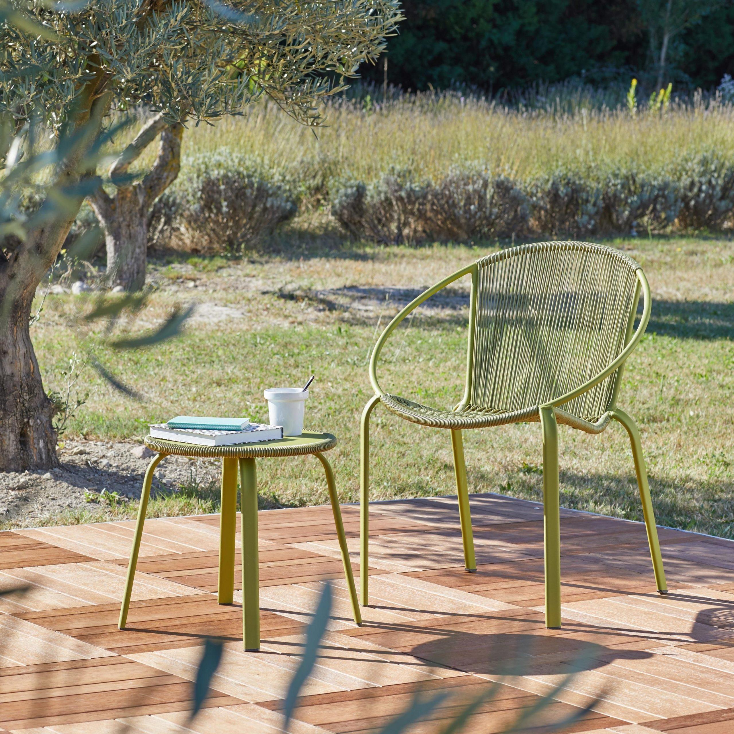 Table De Jardin Basse Naterial Veracruz Ronde Vert 2 ... pour Table De Jardin 2 Personnes