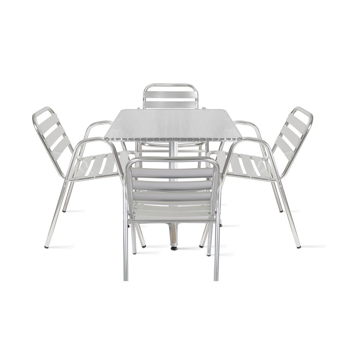 Table De Jardin Bistrot Carrée Et 4 Fauteuils En Aluminium ... avec Chaise Bistrot Aluminium Jardin