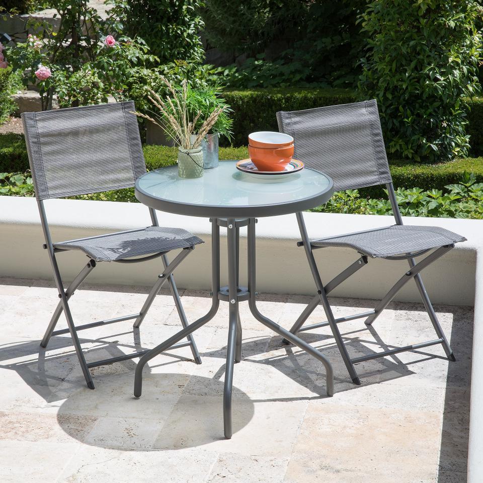 Table De Jardin Bistrot Larissa (Ronde, Verre Laiteux) dedans Petite Table Ronde De Jardin