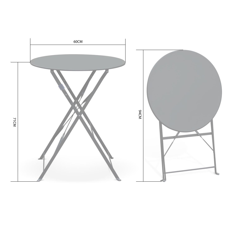 Table De Jardin Bistrot Pliable - Emilia Ronde Anthracite ... encequiconcerne Petite Table Ronde De Jardin