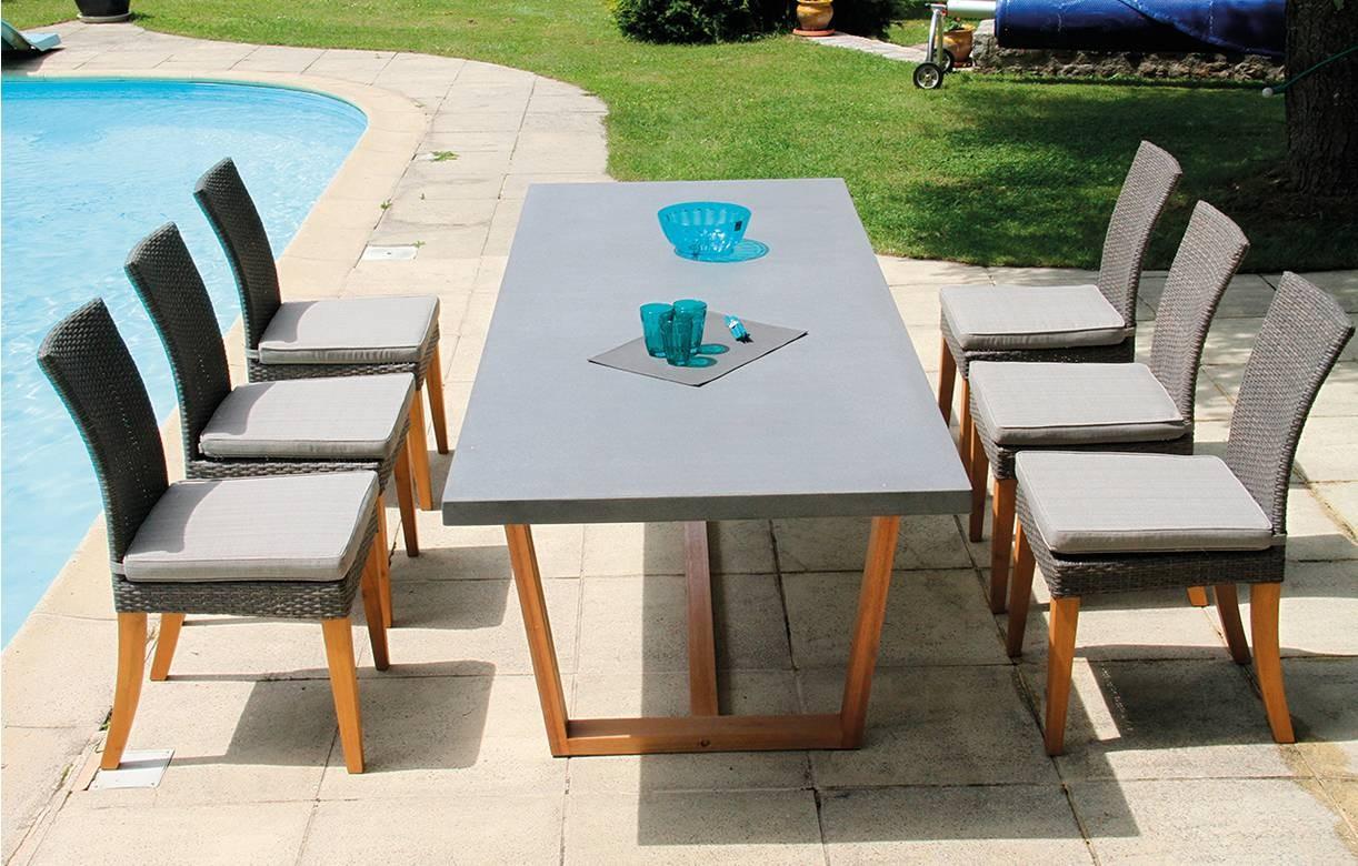Table De Jardin Bois Massif Et Plateau Béton + 8 Chaises avec Table De Jardin En Ciment