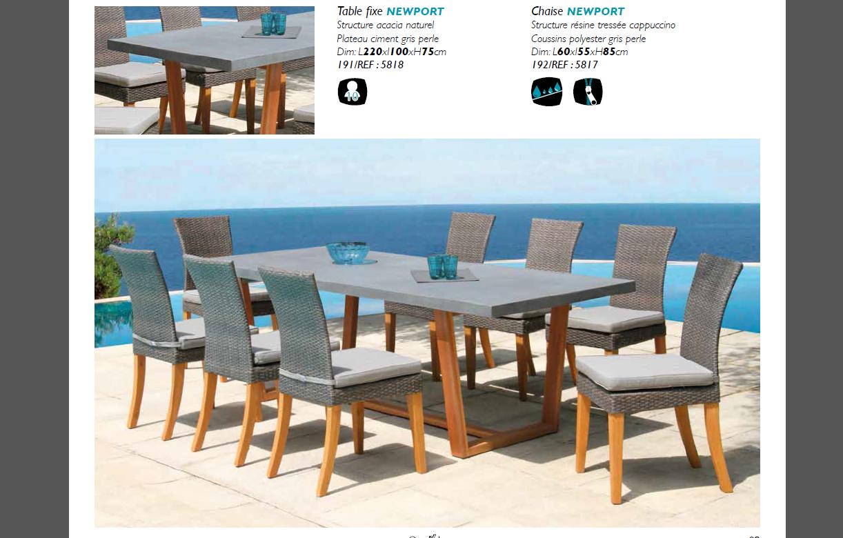Table De Jardin Bois Massif Et Plateau Béton + 8 Chaises tout Table Et Chaise De Jardin Design