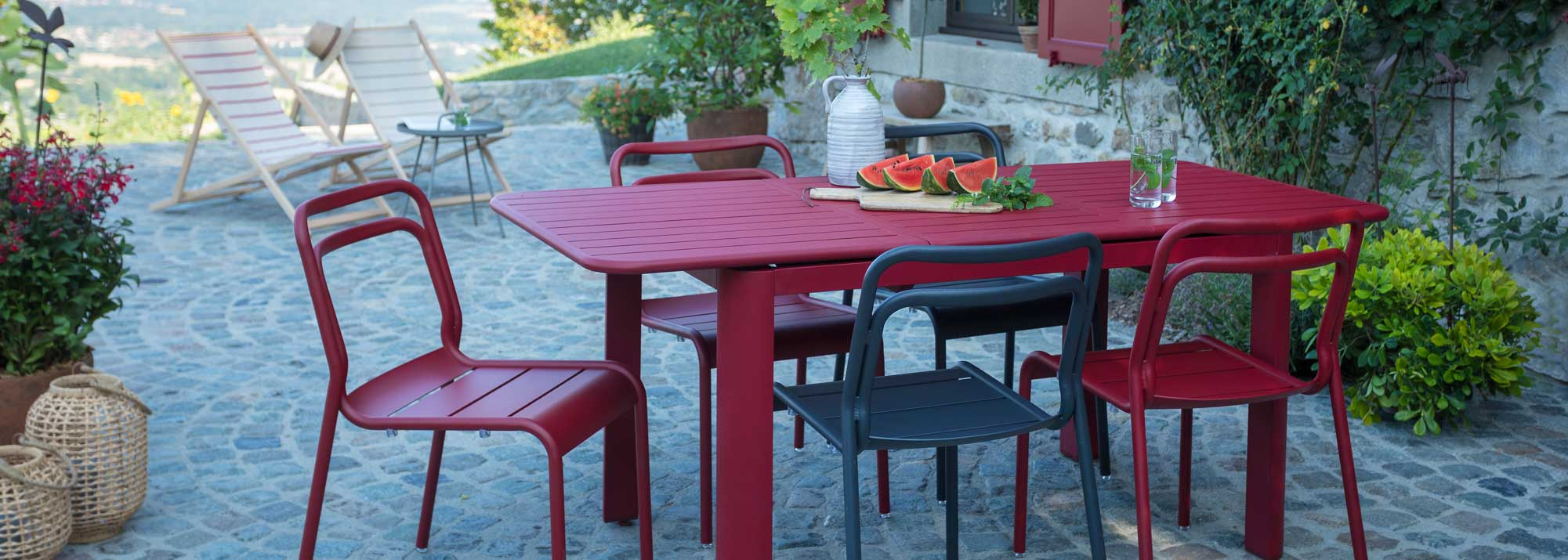 Table De Jardin : Botanic®, Tables De Jardin En Aluminium ... dedans Salon De Jardin Métal Coloré
