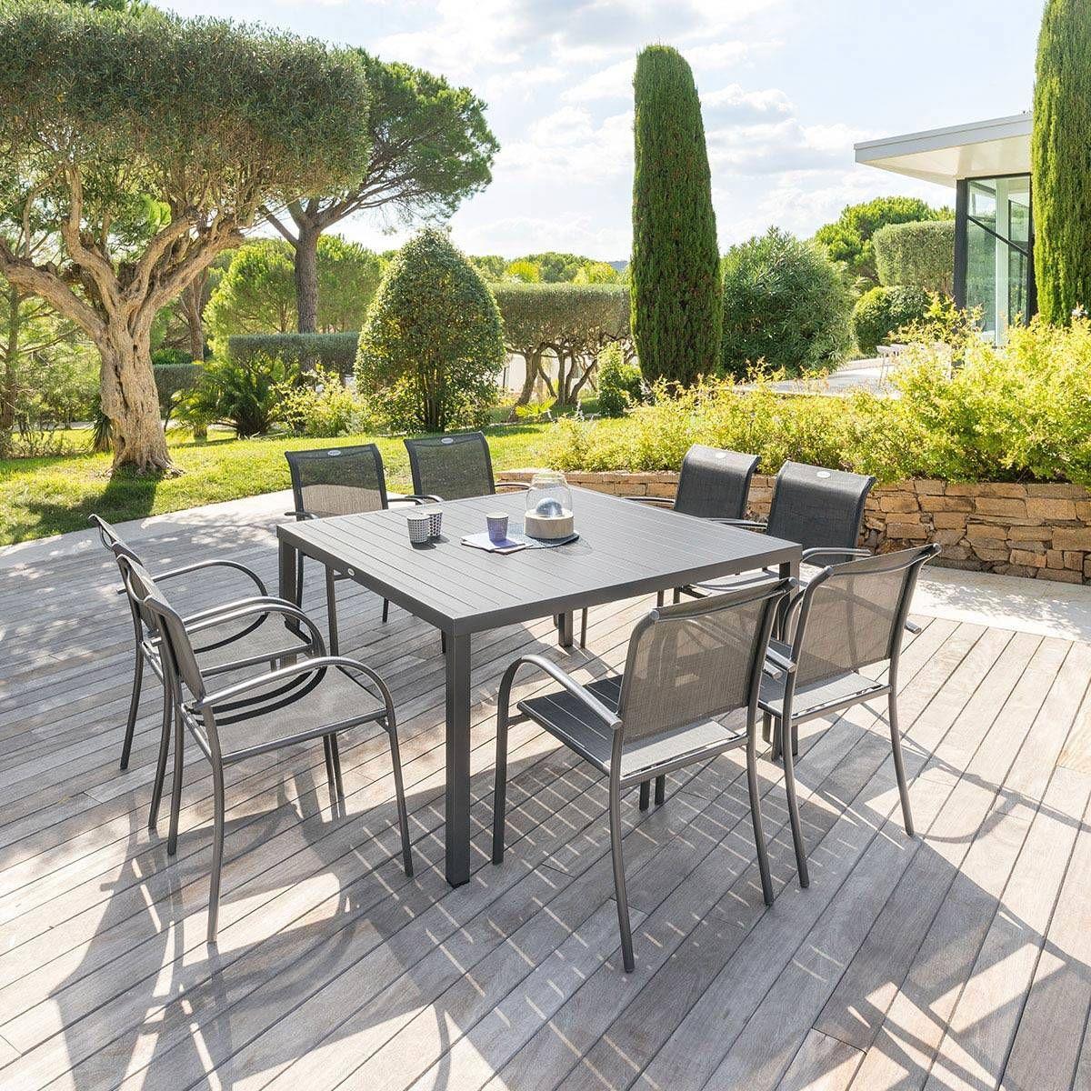 Table De Jardin Carrã©E Piazza Graphite - Hesperide | Table ... encequiconcerne Centrakor Salon De Jardin