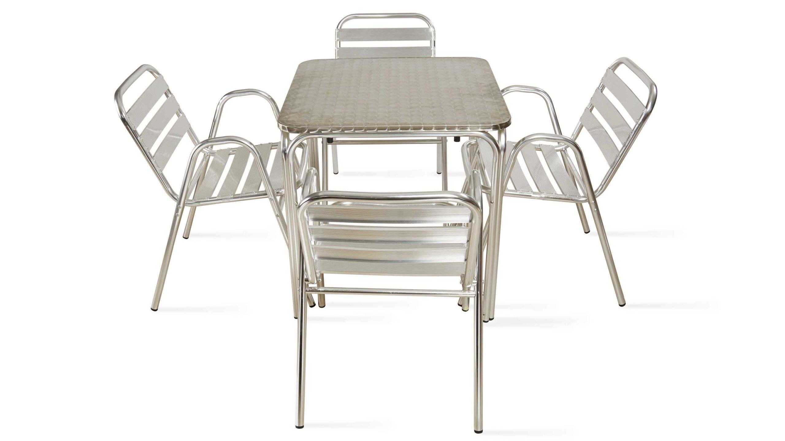 Table De Jardin Carrée En Aluminium 4 Places avec Table Et Chaise De Jardin En Aluminium