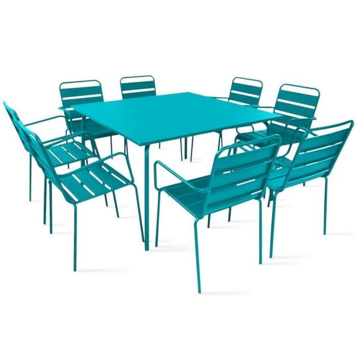 Table De Jardin Carrée En Métal 120 Cm Et 8 Fauteuils En ... encequiconcerne Table De Jardin Carre