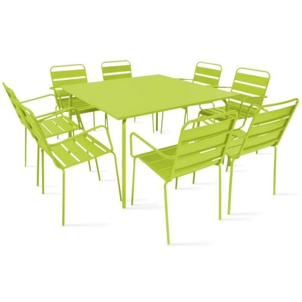Table De Jardin Carrée En Métal 120 Cm Et 8 Fauteuils En ... intérieur Salon De Jardin Carre