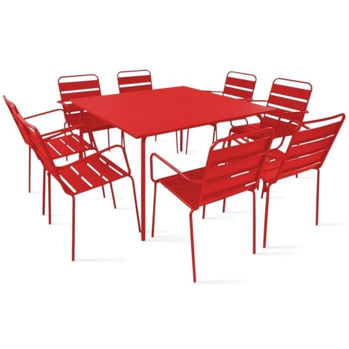Table De Jardin Carrée En Métal 120 Cm Et 8 Fauteuils En Métal dedans Table De Jardin Carre
