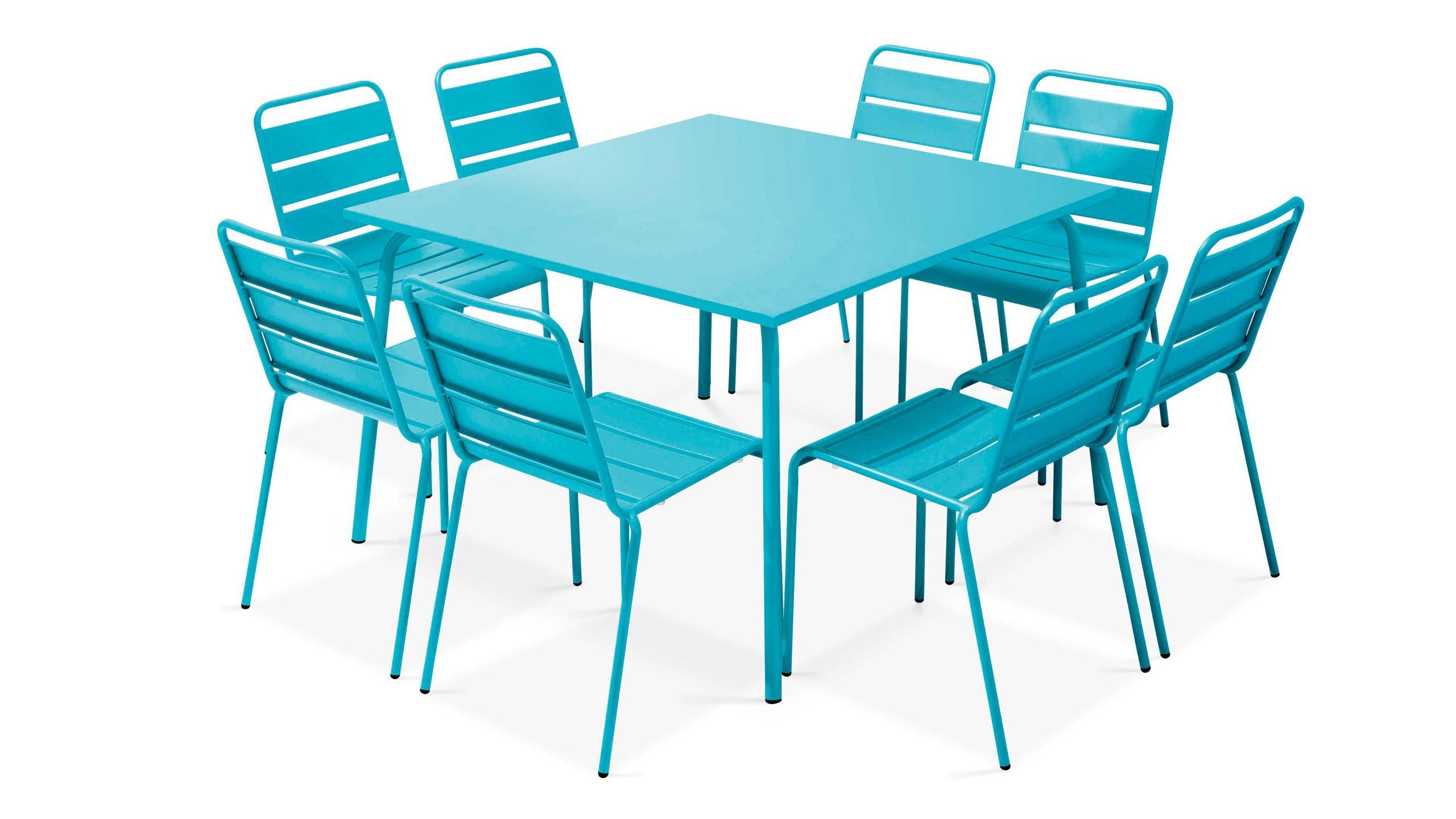 Table De Jardin Carrée En Métal, 8 Chaises | Palavas intérieur Table De Jardin Carre