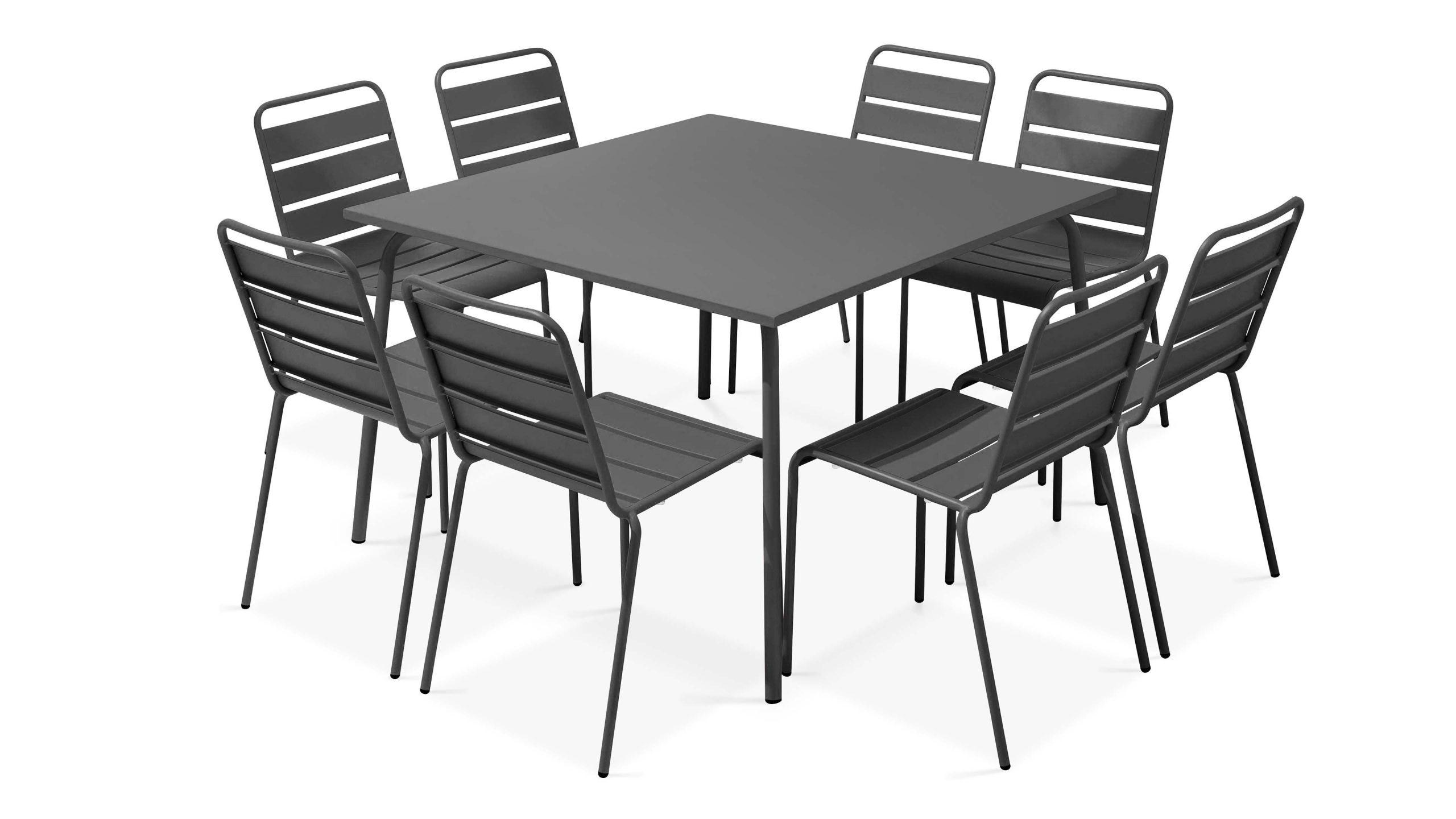 Table De Jardin Carrée En Métal, 8 Chaises | Palavas pour Table De Jardin Carrée 8 Personnes