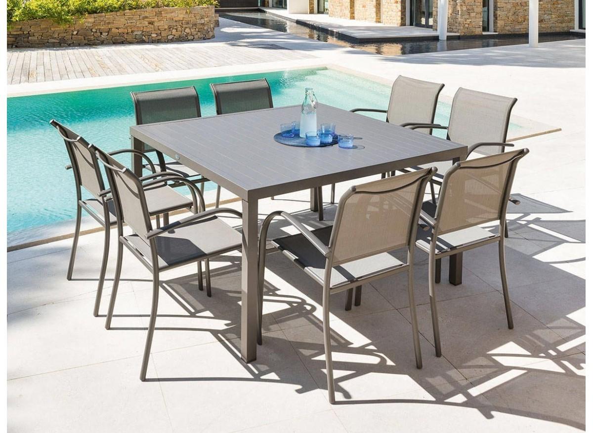 Table De Jardin Carrée Piazza 8 Places - Hespéride - serapportantà Table Jardin Hesperide