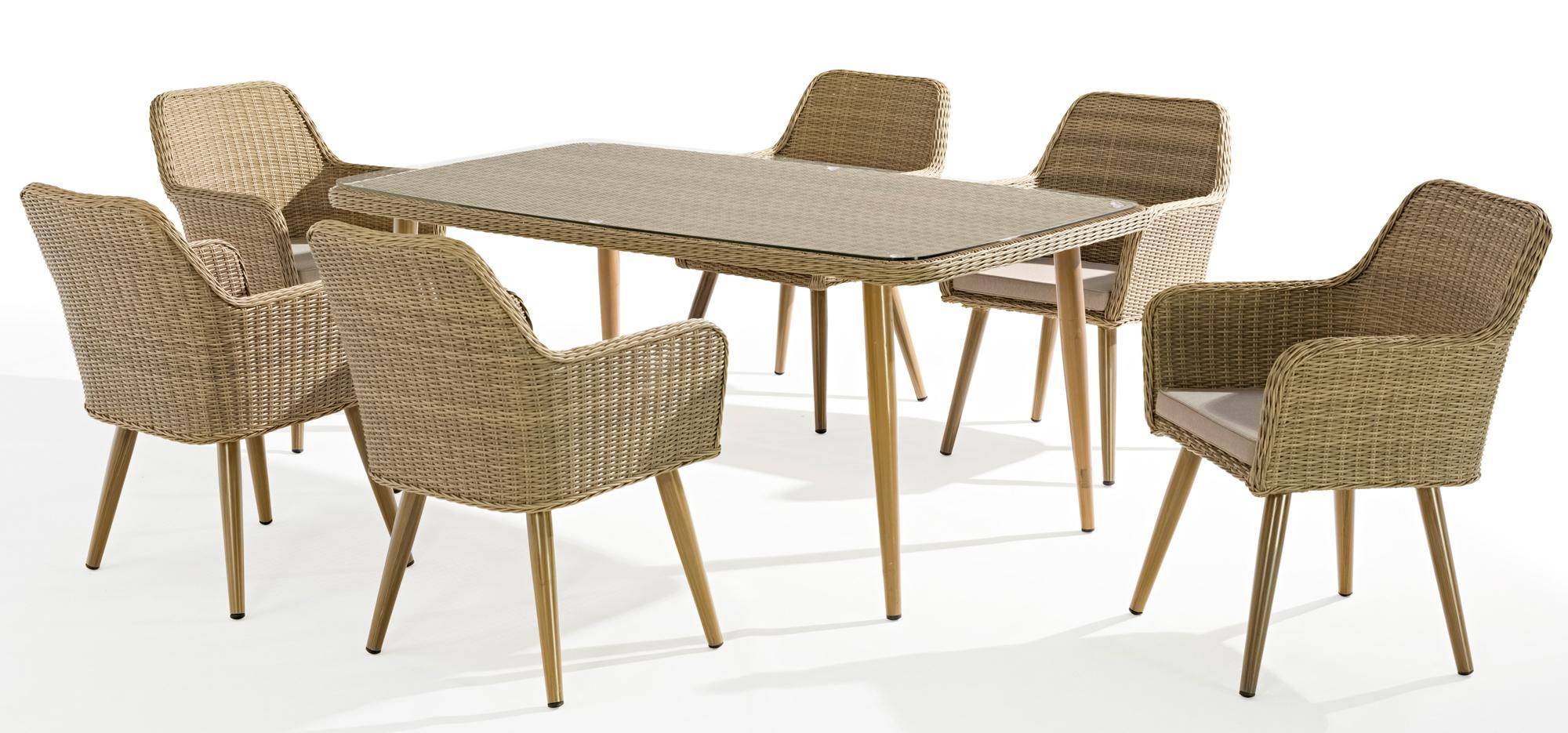 Table De Jardin Cuba 180Cm En Résine Tressée Couleur Sable Et Plateau Verre avec Table De Jardin En Resine Tressée