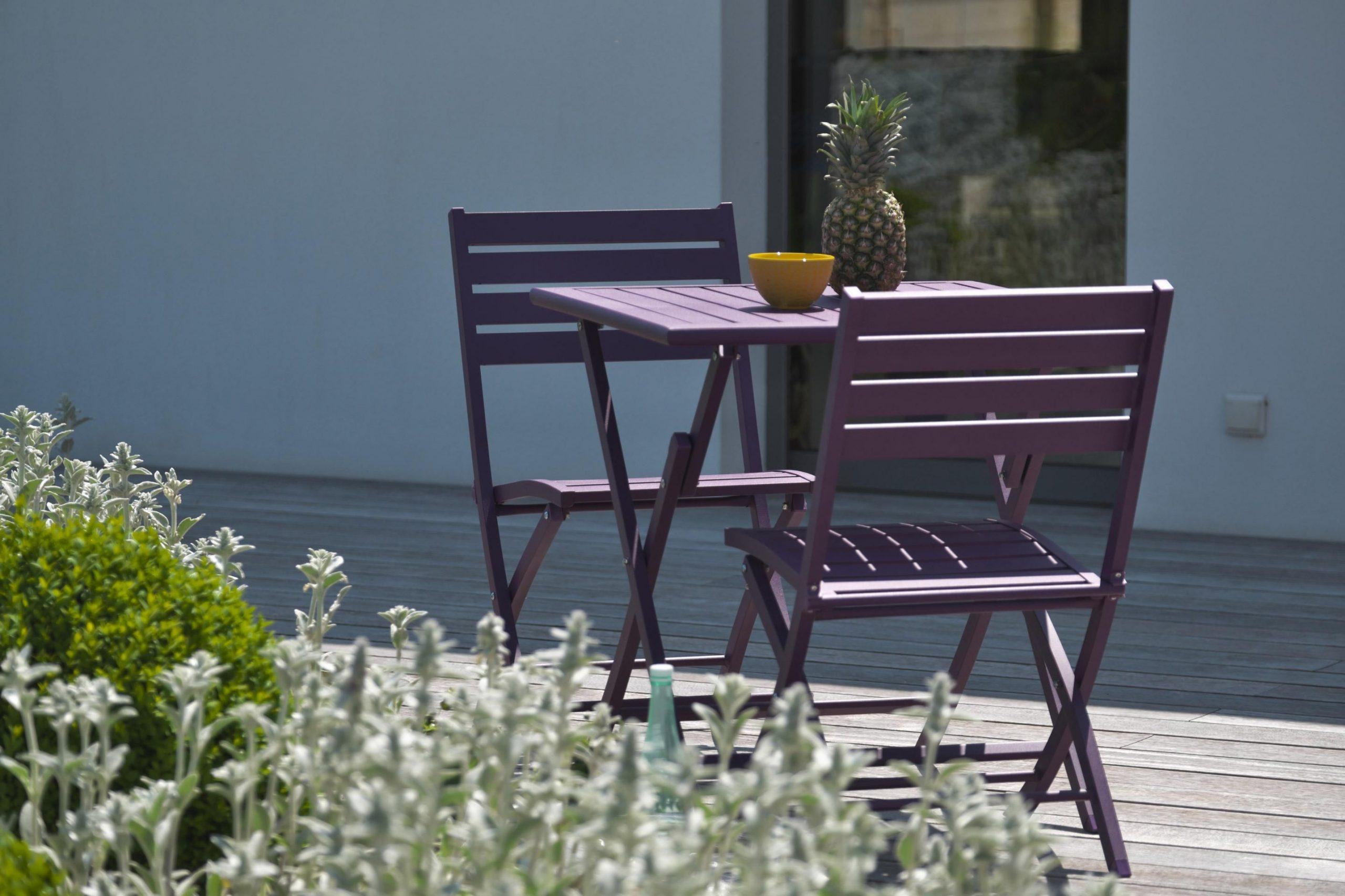 Table De Jardin De Repas Marius Carrée Aubergine 2 Personnes ... concernant Table De Jardin 2 Personnes