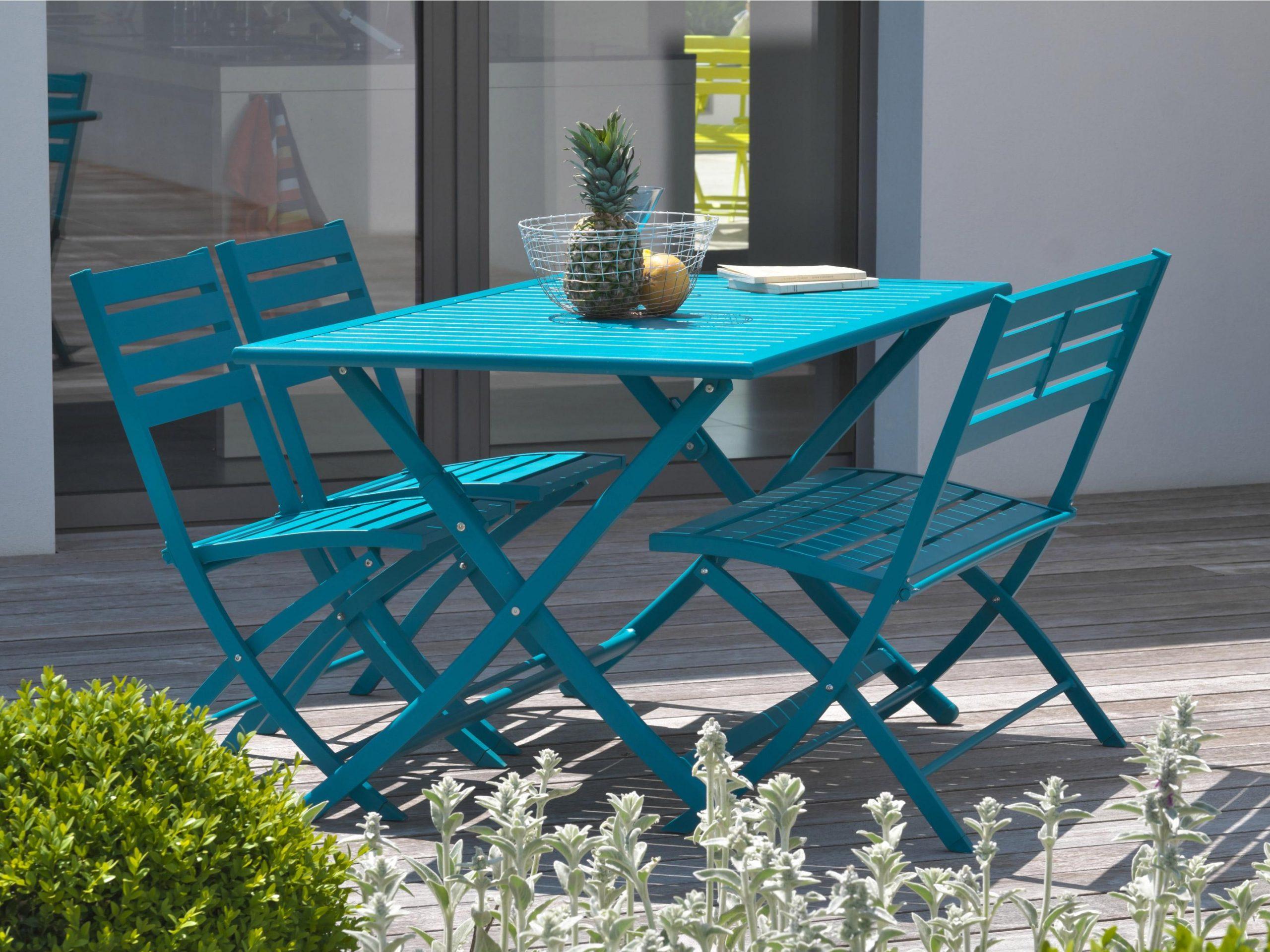 Table De Jardin De Repas Marius Carrée Bleu Riviera 2 Personnes destiné Table De Jardin 2 Personnes
