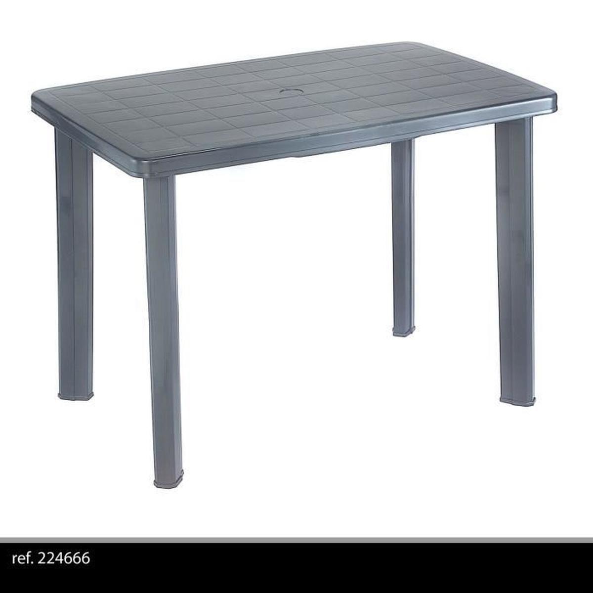 Table De Jardin Démontable En Plastique Pour Camping Ou Repas En Exterieur  Grise 100X70 Emplacement Parasol destiné Table De Jardin C Discount