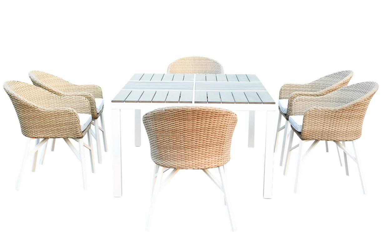 Table De Jardin Design Blanche Et 6 Chaises Rotin - Decome Store encequiconcerne Table Et Chaise De Jardin Design