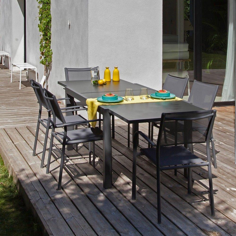 Table De Jardin Elise L140/240 L90 Cm Aluminium/verre Gris intérieur Table De Jardin Aluminium Et Verre