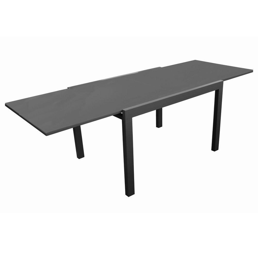 Table De Jardin Elise L170/270 L90 Cm Aluminium/verre Gris pour Table De Jardin Aluminium Et Verre