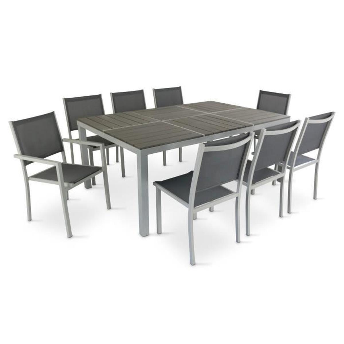 Table De Jardin En Aluminium Et Polywood + 8 Chaises - Achat ... concernant Table Et Chaise De Jardin En Aluminium
