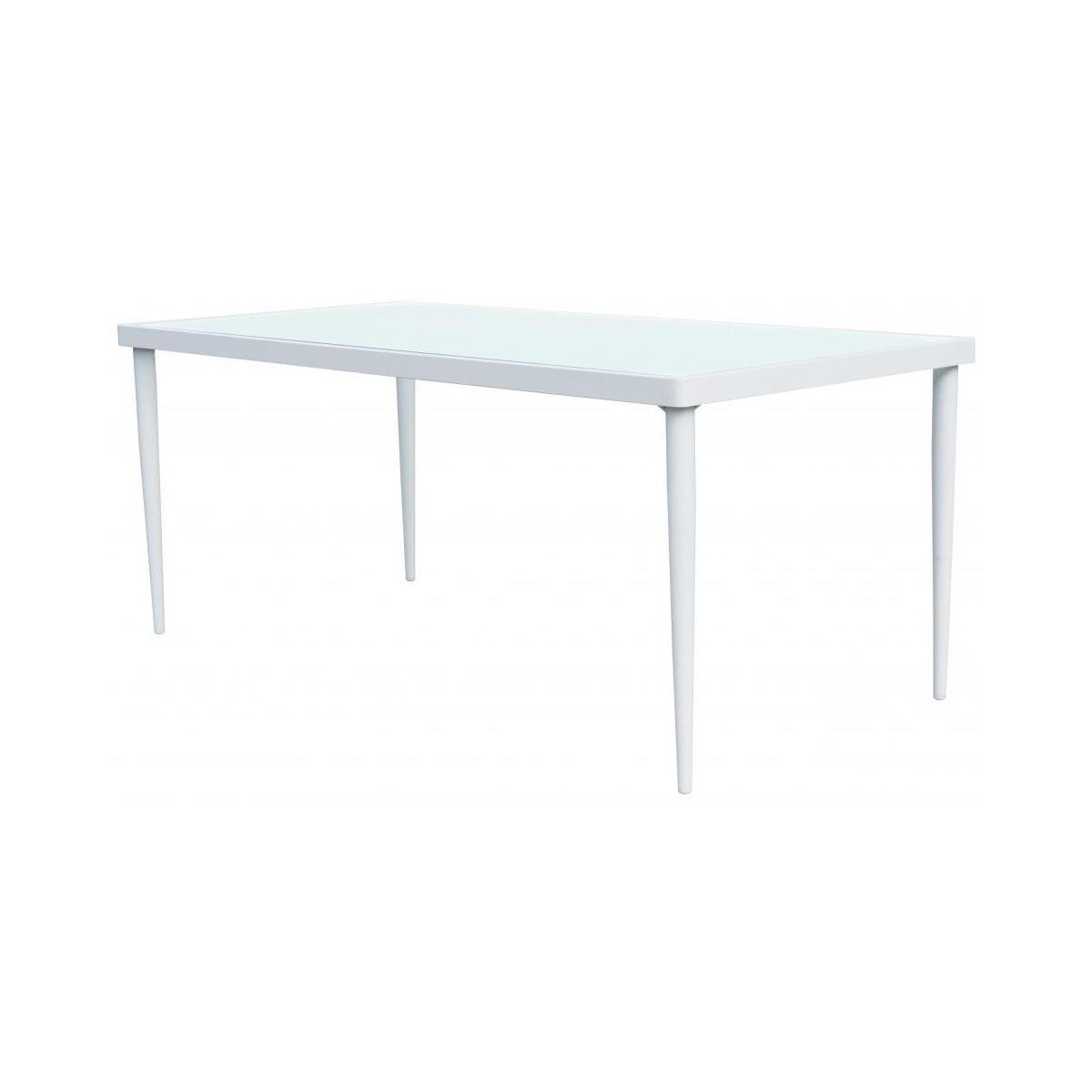 Table De Jardin En Aluminium Et Verre Trempé - Blanc avec Table De Jardin Dessus Verre