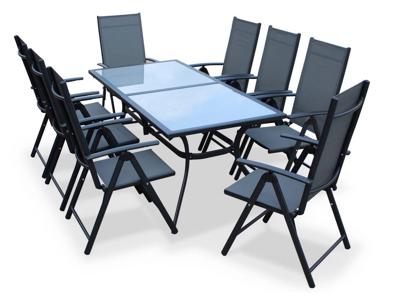 Table De Jardin En Aluminium Naevia De Leroy Merlin - Meuble ... dedans Leroy Merlin Salon De Jardin En Résine Tressée