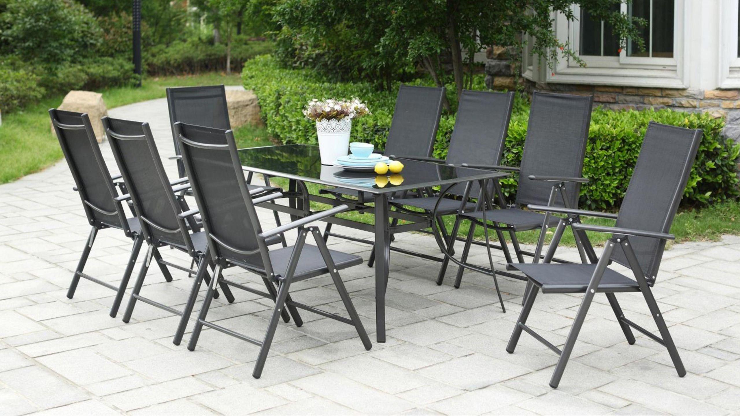 Table De Jardin En Aluminium Salon De Jardin Aluminium Et ... avec Salon De Jardin Métal