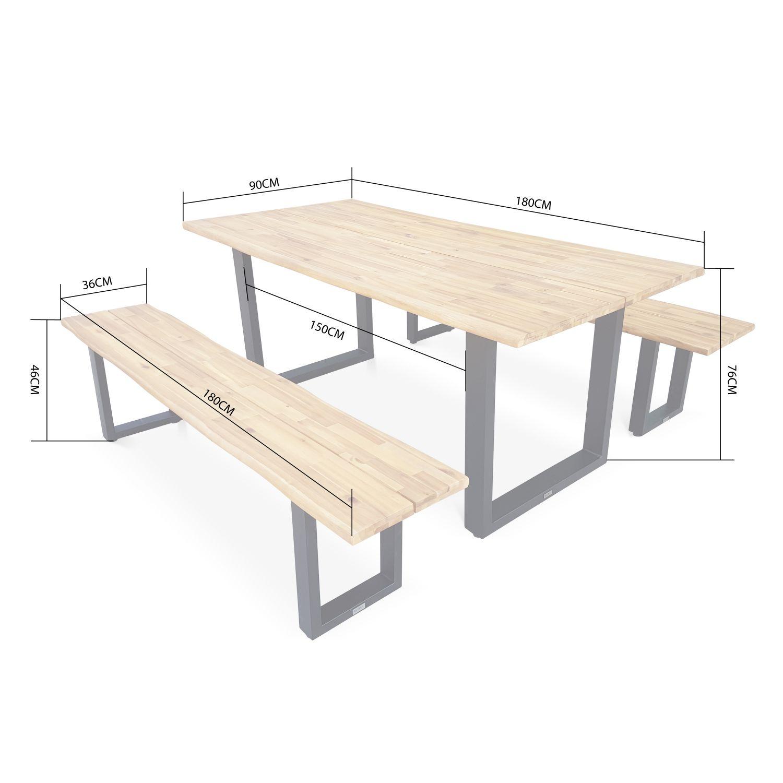Table De Jardin En Bois 180Cm Avec 2 Bancs – Salta – Esprit ... destiné Table De Jardin En Bois Avec Banc Integre