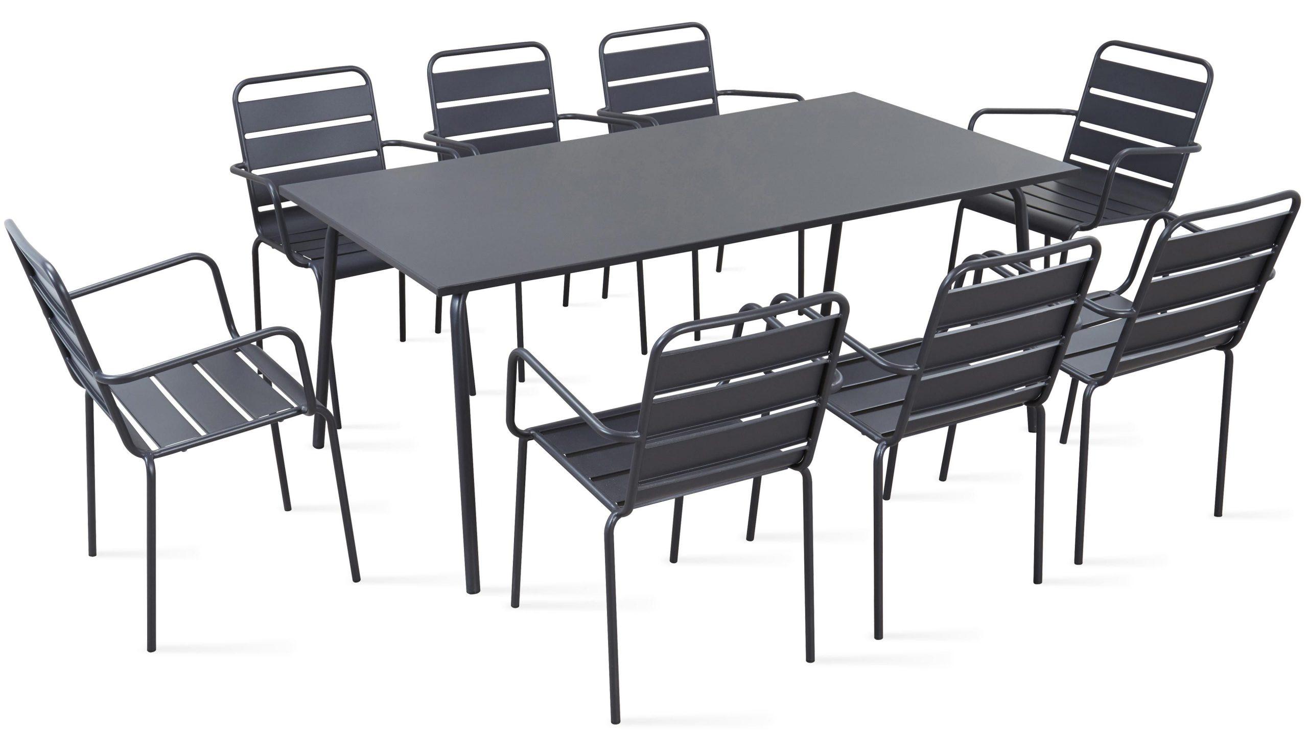 Table De Jardin En Métal Et 8 Fauteuils destiné Table Et Chaise De Jardin Solde