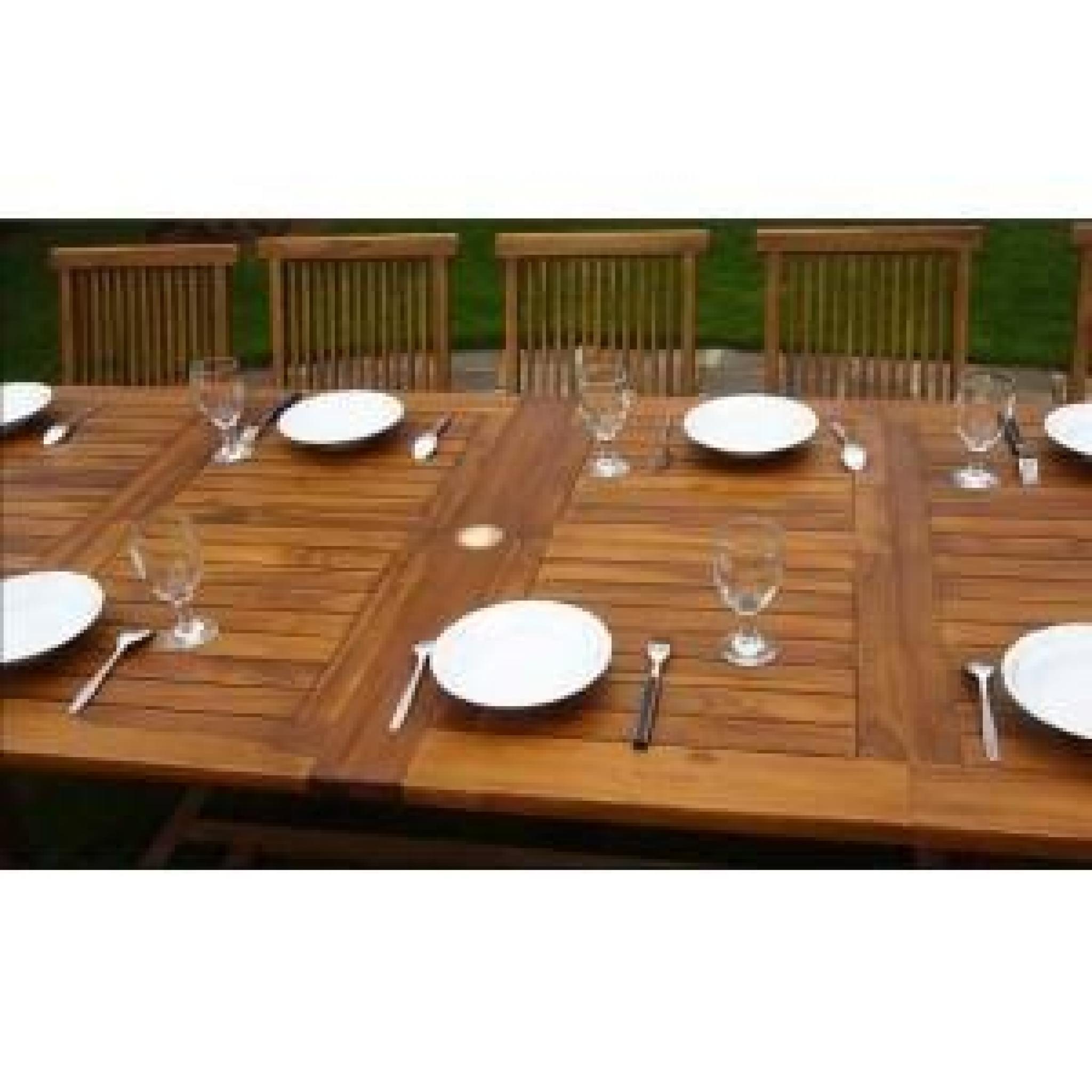 Table De Jardin En Teck Xxl Double Rallonge avec Table De Jardin Xxl