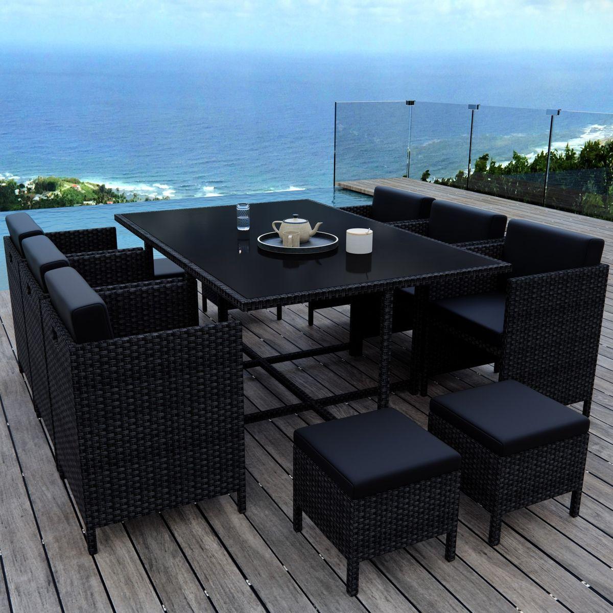 Table De Jardin Encastrable, 10 Places, Resine Tressee ... concernant Salon De Jardin Encastrable 10 Places