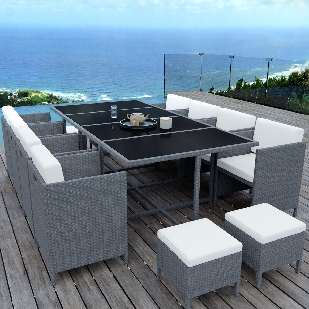 Table De Jardin Encastrable, 12 Places, Résine Tressée ... pour Table De Jardin Chaise Encastrable