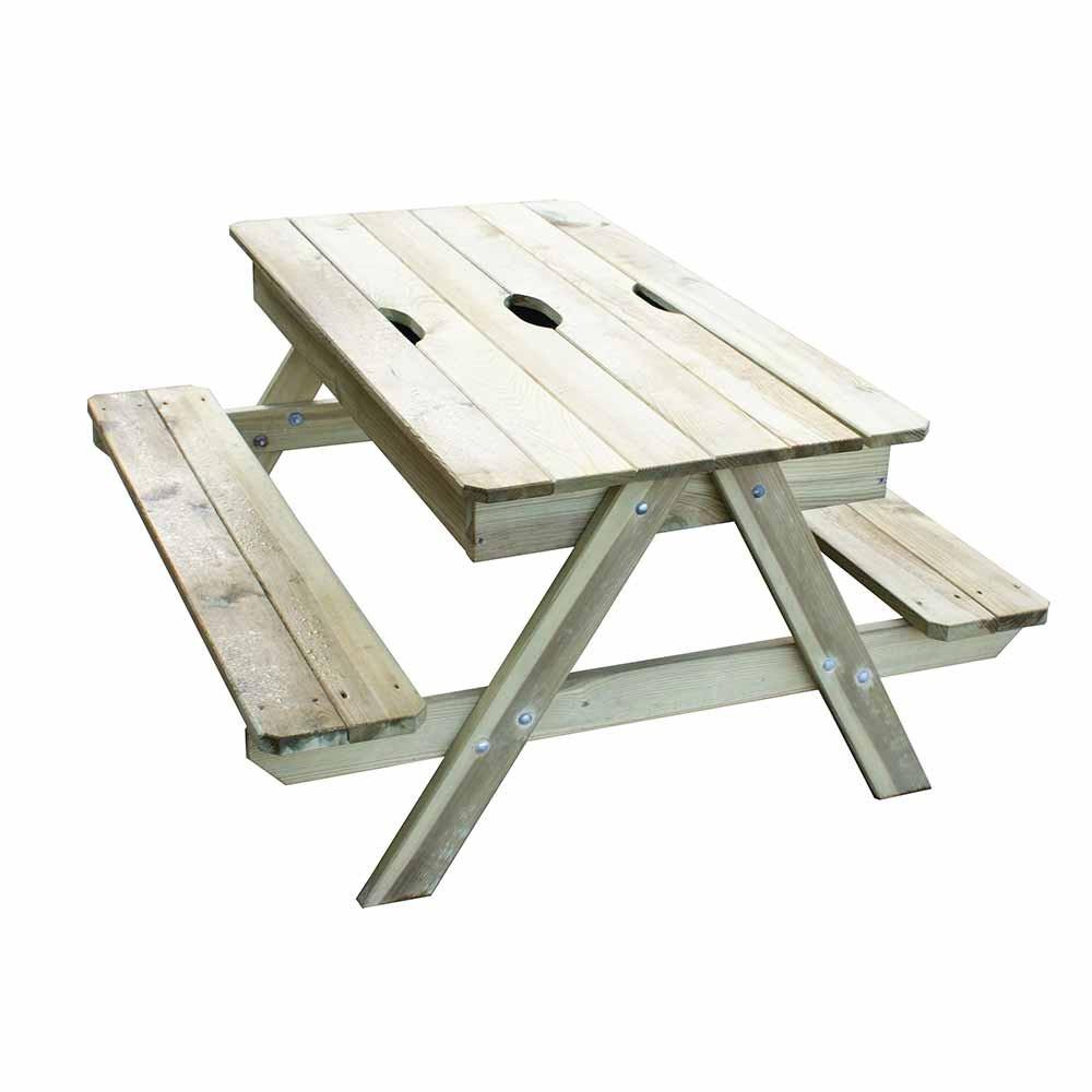 Table De Jardin Enfant Et Bac À Sable Intégré Trigano encequiconcerne Table De Jardin En Bois Avec Banc Integre