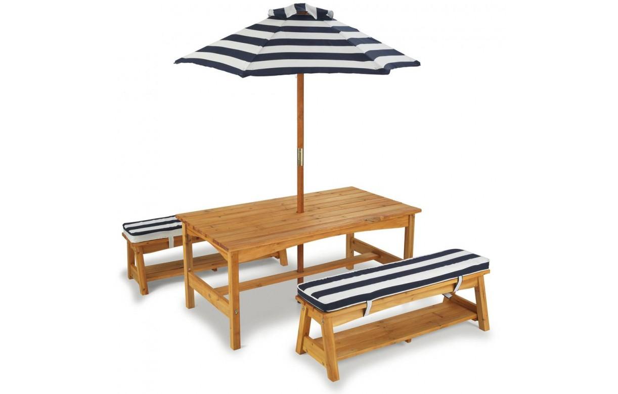 Table De Jardin Enfants Avec Bancs Et Parasol Kidkraft 00106 à Salon De Jardin Pour Enfants