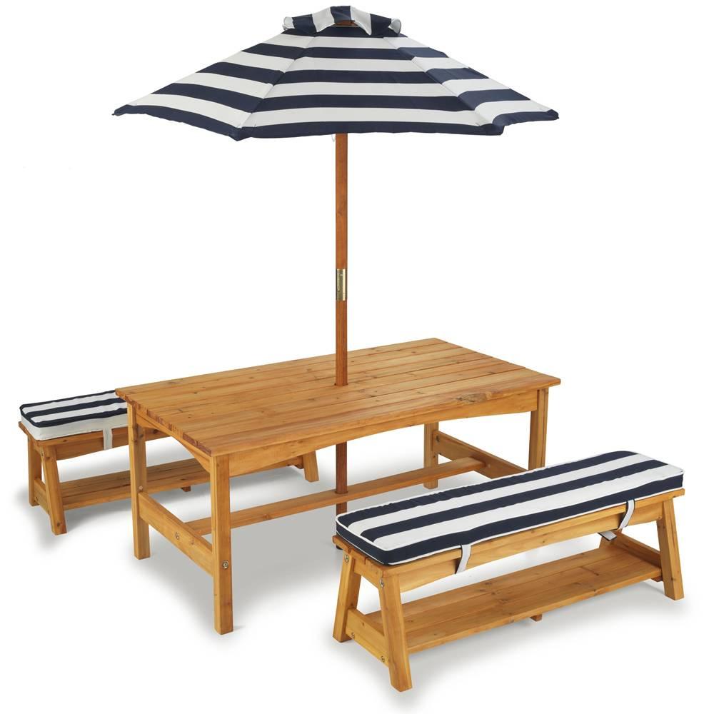 Table De Jardin Enfants Avec Bancs Et Parasol Kidkraft 00106 dedans Table De Jardin En Bois Avec Banc Integre