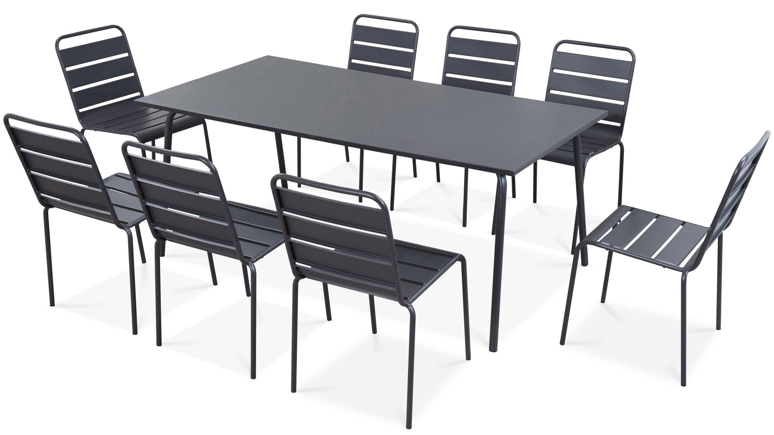 Table De Jardin Et 8 Chaises En Métal   Palavas à Gamm Vert Salon De Jardin