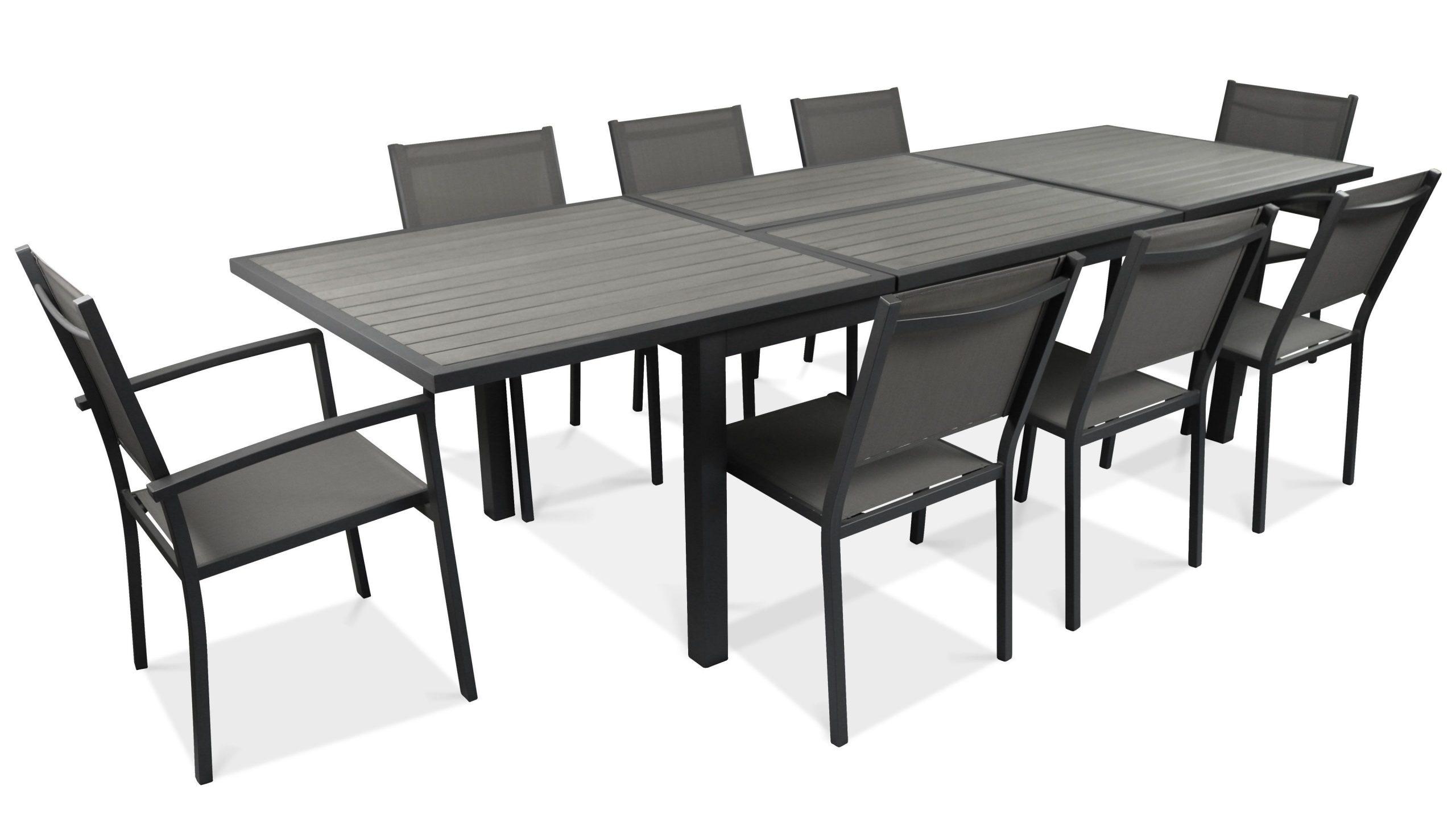 Table De Jardin Extensible 10 Places En Aluminium Et ... serapportantà Salon De Jardin Polywood