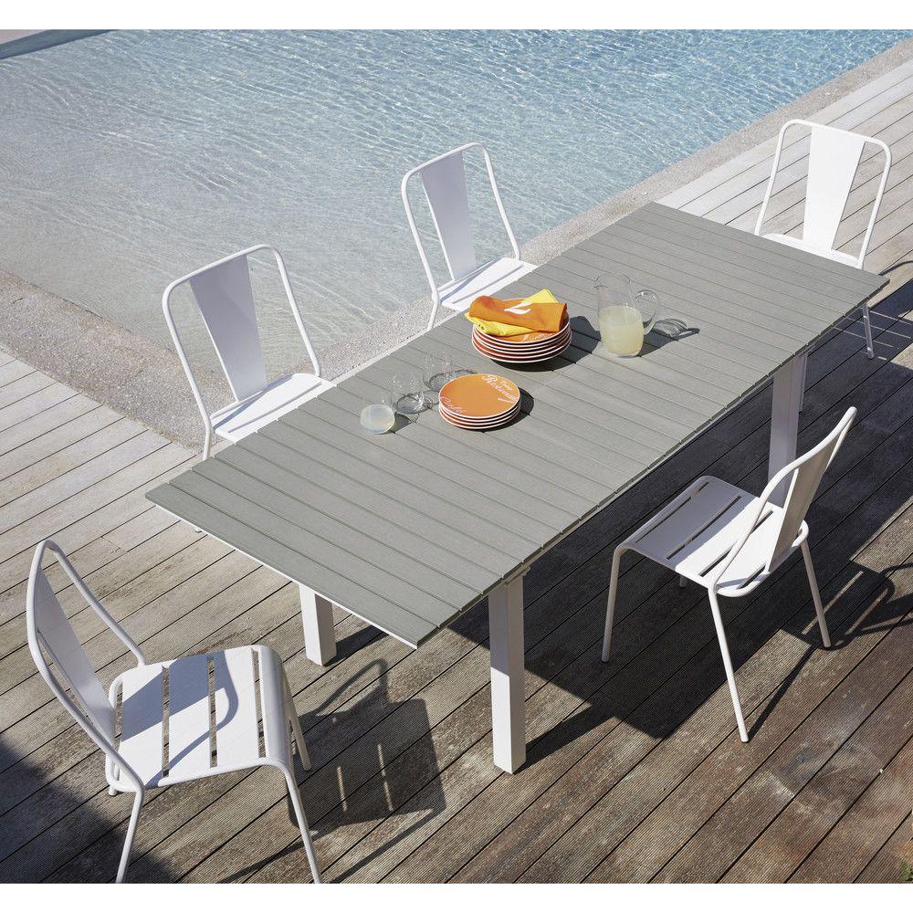Table De Jardin Extensible 6/10 Personnes En Aluminium Et ... tout Salon De Jardin Aluminium Et Composite