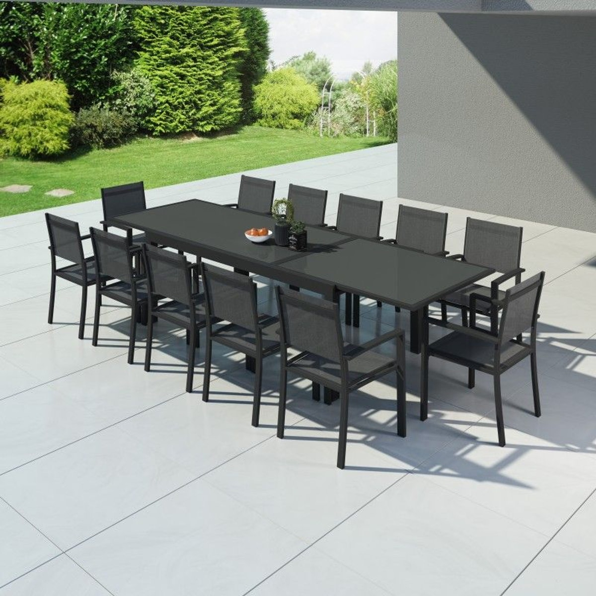 Table De Jardin Extensible Aluminium 200/320Cm + 12 ... concernant Salon De Jardin Textilene