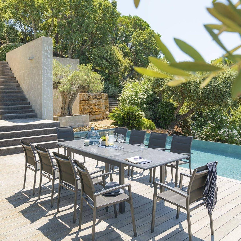 Table De Jardin Extensible Azua - Céramique - 10 Personnes ... tout Table De Jardin 10 Personnes