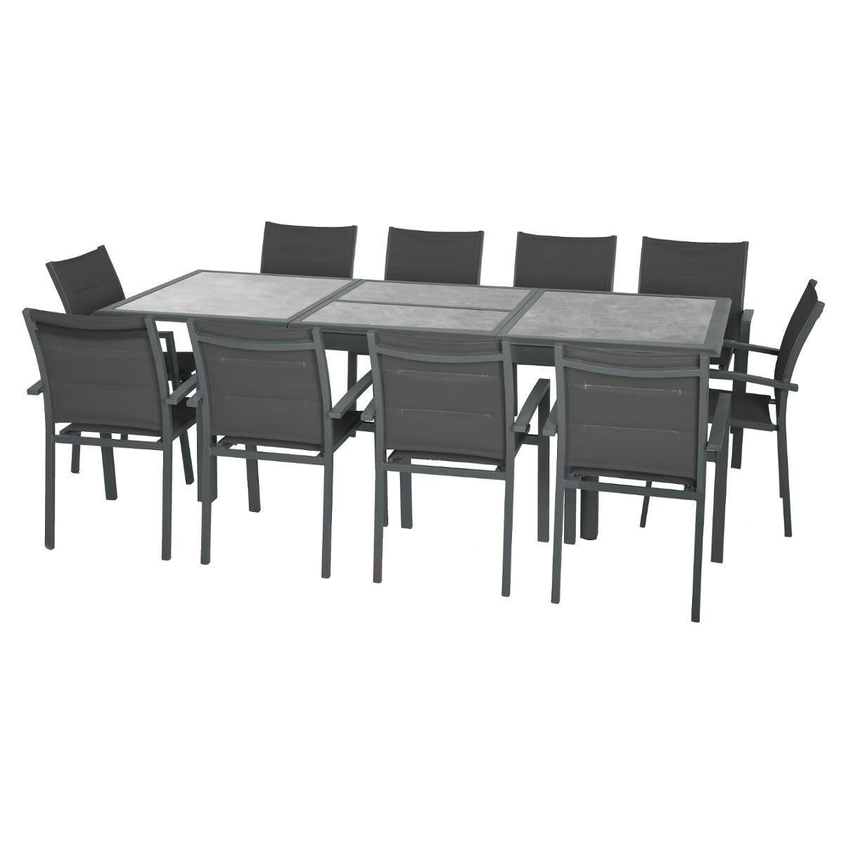 Table De Jardin Extensible Azua Storm & Graphite , Hesperide tout Table Céramique Jardin
