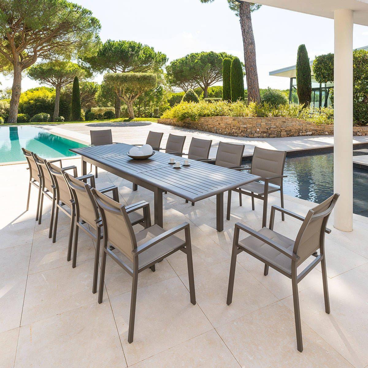 Table De Jardin Extensible Azua Tonka 12 Places - Aluminium ... intérieur Salon De Jardin 12 Places