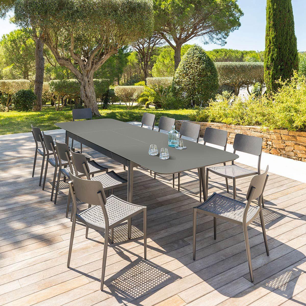 Table De Jardin Extensible Iceland Graphite 12 Places ... encequiconcerne Table Et Chaise De Jardin Design