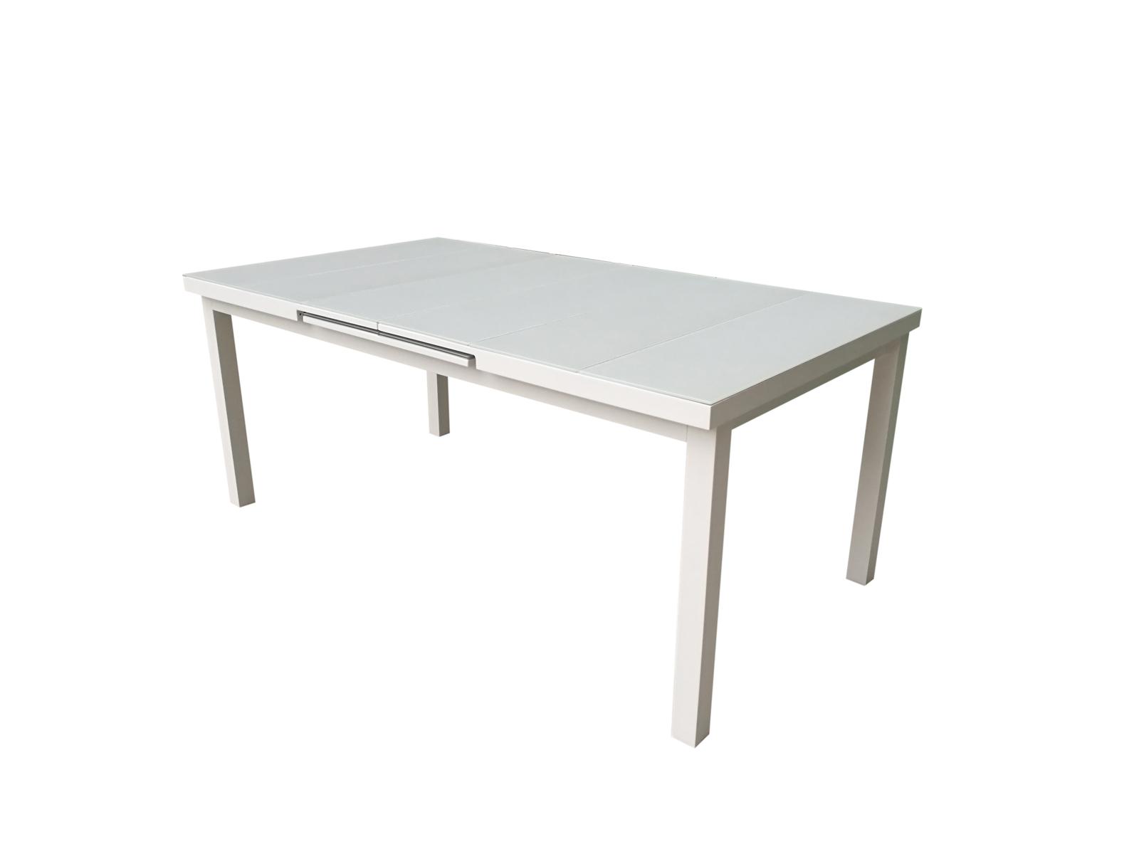 Table De Jardin Extensible Nice 180/240Cm En Aluminium Blanc Gris Et  Plateau Verre Blanc Gris encequiconcerne Table De Jardin Dessus Verre